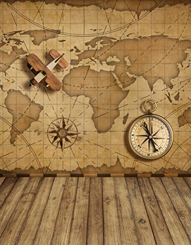 Vintage Brown Map Backdrop for Photography Studio Plane Compass Retro Digital Photo Booth Background Kids Children Shooting Prop with Wood Floor 5×7 ft 2138 ()