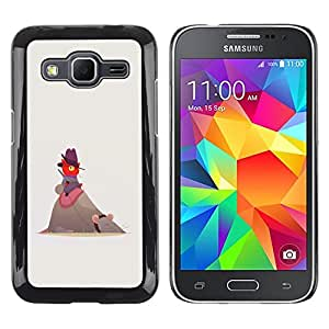 TopCaseStore / la caja del caucho duro de la cubierta de protección de la piel - Cute Funny Cat Mouse Red Beige Cowboy - Samsung Galaxy Core Prime SM-G360