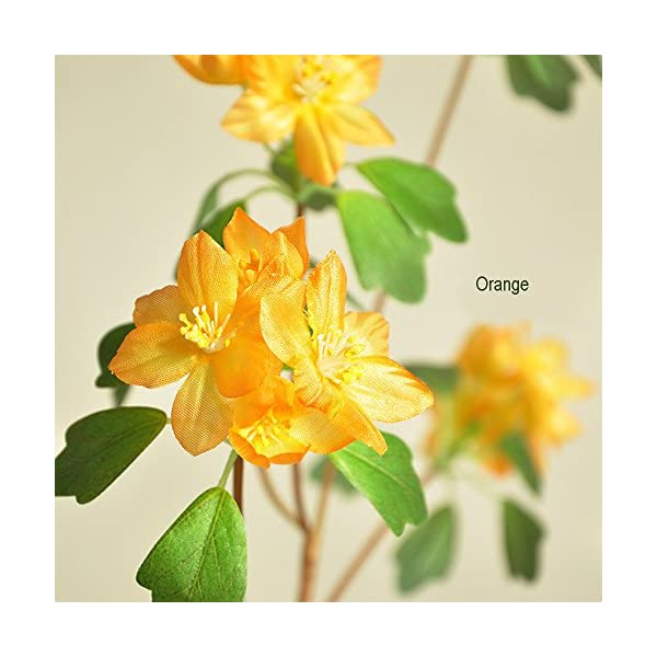 LI HUA CAT Water Daffodil 2pcs Artificial Flowers About 24 Heads Flowers in one Piece Eternal Fake Flower for Home Decor Wedding Decoration Flower Arrangement Table Decor and DIY (Orange)