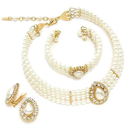 3 Rows Rhinestone Trimmed Simulated Pearl Choker Necklace, Bracelet, Clip on Earring 3 Set