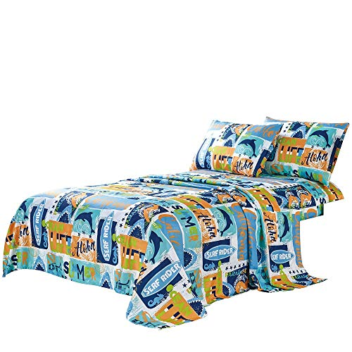 WPM Kids Collection Bedding 4 Piece Blue Ocean Life Full Size Sheet Set with Flat Fitted Sheets Pillow sham Whale Print Fun Sun Water surf Design (Ocean Life Whale, Full ()