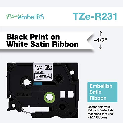 Brother International Brother P-Touch Embellish Black Print on White TZER231 Satin Ribbon,