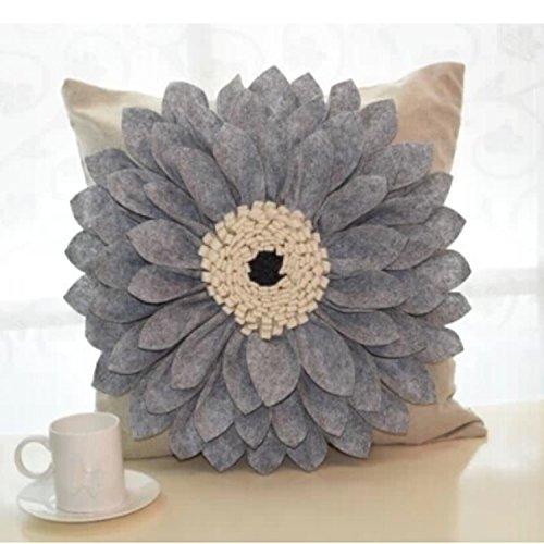 Queenie® - 1 Pc 3 Dimensional Flower Embroidery & Applique Floral Decorative Pillowcase Cushion Cover Throw Pillow Case 18 X 18 Inch 45 X 45 Cm (Single Flower - Grey)