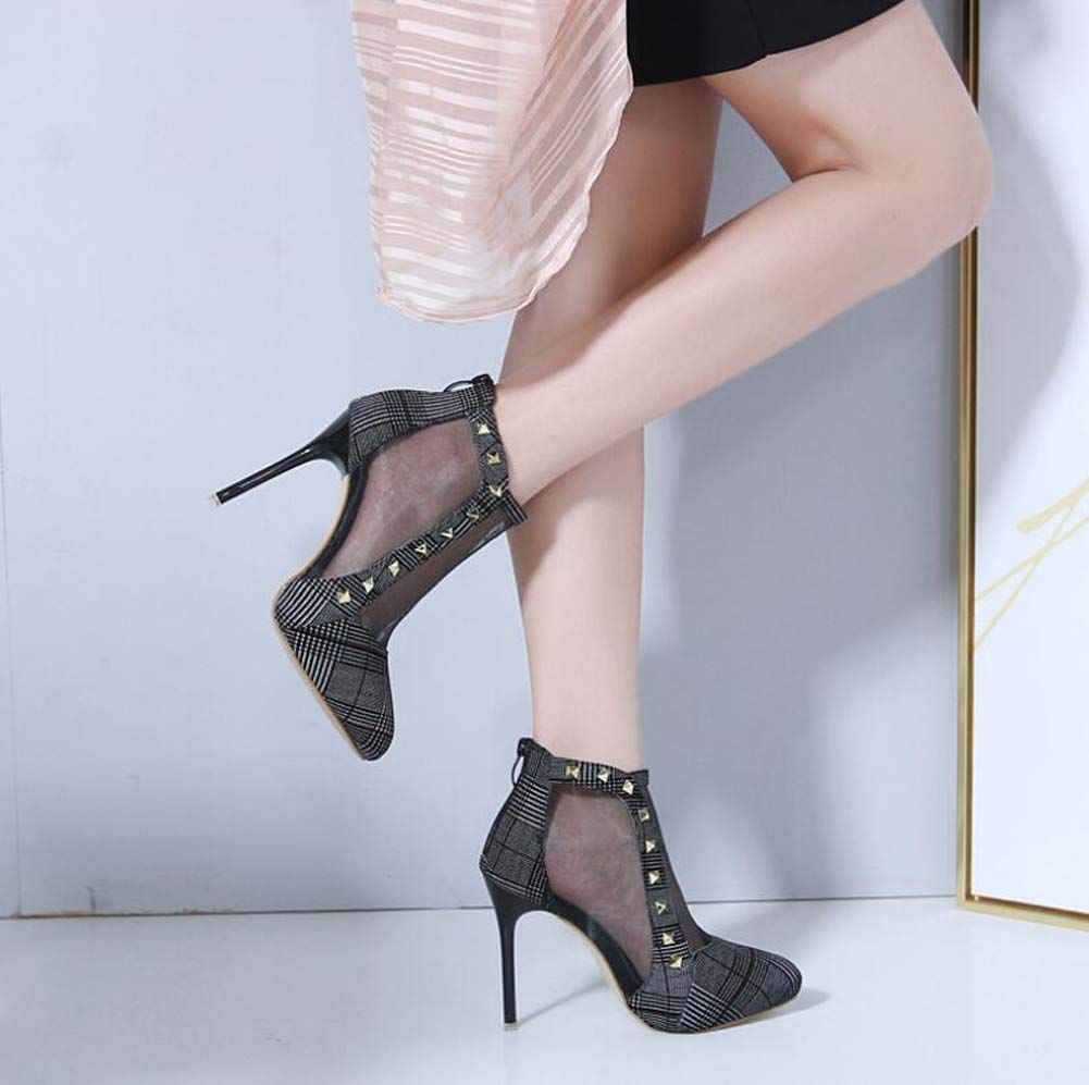 Mamrar Coole Stiefel Frauen Mesh Hollow Knöchel Stiefelie 11Cm Stiletto Stiletto Stiletto Kleid Stiefel Net Garn Roma Court schuhe EU Größe 34-40 f31229
