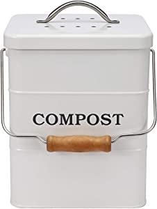 Xbopetda Stainless Steel Compost Bin for Kitchen Countertop,1 Gallon, includes Charcoal Filter,Compost Bucket Kitchen Pail Compost with Lid -White