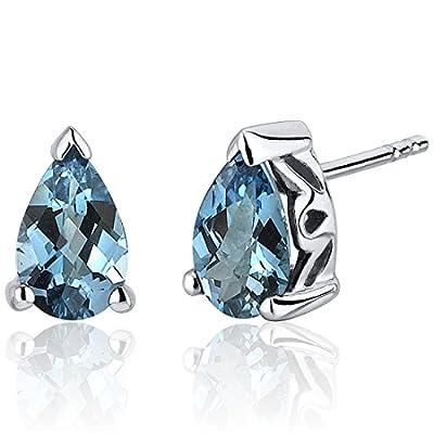 London Blue Topaz Pear Shape Stud Earrings Sterling Silver