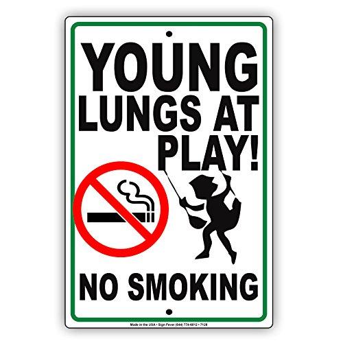 Young Lungs At Play No Smoking Notice Memo Aluminium Metal 8