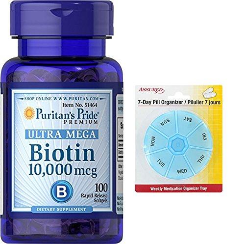 Amazon.com: Pride Biotin 10.000 mcg-100 cápsulas de Puritan con gratis 7 días plástico píldora organizadores: Health & Personal Care