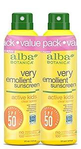 Alba Botanica Very Emollient SPF 50 Active Kids Clear Spray, 2 Count