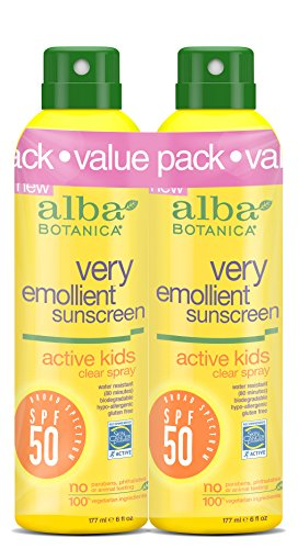 Alba Botanica Very Emollient SPF 50 Active Kids Clear Spray, 2 Count