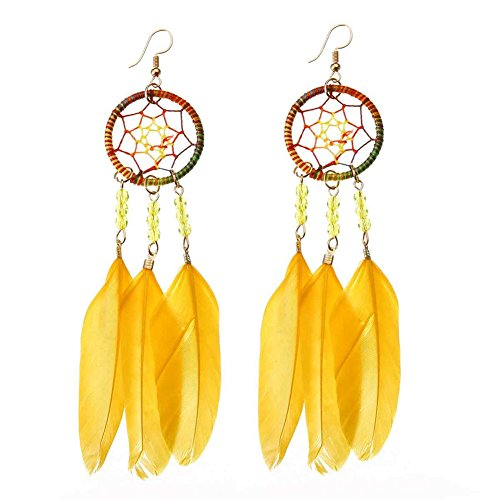 (SoundsBeauty Bohemian Style Dream Catcher Feather Beads Pendant Dangle Earrings Party Jewelry Gift Yellow)