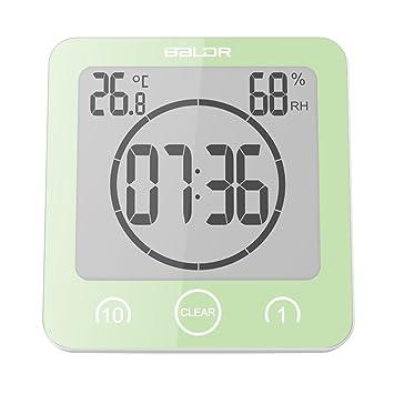 Hstyle Wasserdicht Dusche Wanduhren Badezimmer Küche Uhr Luftfeuchtigkeit  Temperatur Anzeige Timer Grün