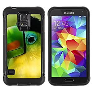 Suave TPU Caso Carcasa de Caucho Funda para Samsung Galaxy S5 SM-G900 / Parrot Green Beak Tropical Bird Nature / STRONG