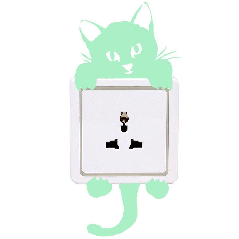 FimKaul Cartoon Cat Switch Decor Wall Stickers Light Decals Art Mural Baby Nursery Room (B)