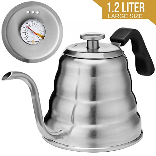 Pour Over Coffee Kettle with BUILT-IN THERMOMETER - Large 1.2L - Gooseneck Drip Coffee Kettle and Stainless Steel Stovetop Tea Pot