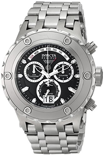 (Invicta Men's 1566 Reserve Chronograph Black Dial Stainless Steel Watch)