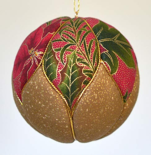 Red and Gold Poinsettia Print Fabric Christmas Ornament 3