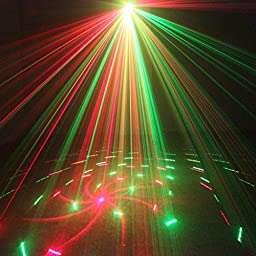 SUNY 3 Lens Red Green 12 Patterns illumination Light Projector Bright Blue LED Stage DJ Music Show Lamp Sound Active Remote-Controlled