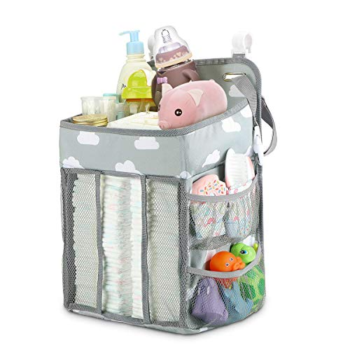 Elebor Baby Nursery Organizer and Diaper Caddy, Hanging Diaper Stacker Storage for Changing Table, Crib, Playard or Wall - Nursery Organization & Baby Shower Gifts for Newborn (Cloud) from Elebor