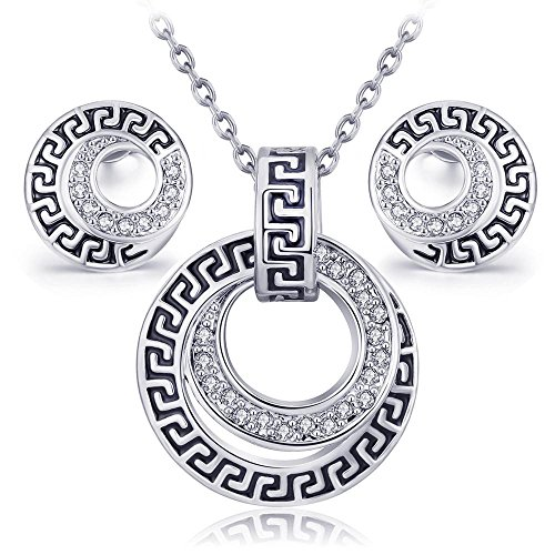 YouBella Presents L'amore Collection Crystal Jewellery Pendant Set / Necklace Set with Earrings
