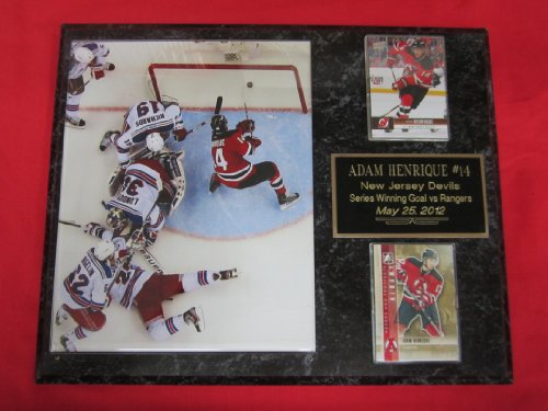 Adam Henrique New Jersey Devils 2 Card Collector Plaque w/8x10 Photo PLAYOFF GOAL vs RANGERS #2 OVERHEAD PHOTO! - Jersey New Devils Plaque