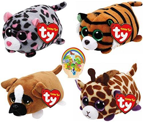 Teenys Ty Mini Safari Friends Tiggy Tiger, Miles Leopard, Mabs Giraffe, and Diggs Dog Set of 4 with Bonus Animals Sticker - Peek A-boo Giraffe