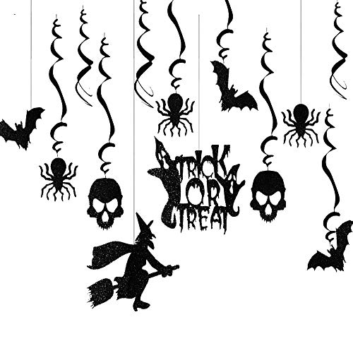 Tereway Halloween Decoration, Haunted Swirls Ceiling Hanging Creepy Decor for Halloween Party - Bats/Spiders/Witch]()
