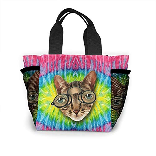 BIAN-60 Tie Dye Cat Insulated Reusable Lunch Bag Tote Handbag Lunchbox Food Container Gourmet Tote for School Work ()