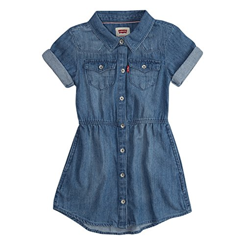 Levi's Big Girls' Short Sleeve Western Dress, Vintage Breeze, S
