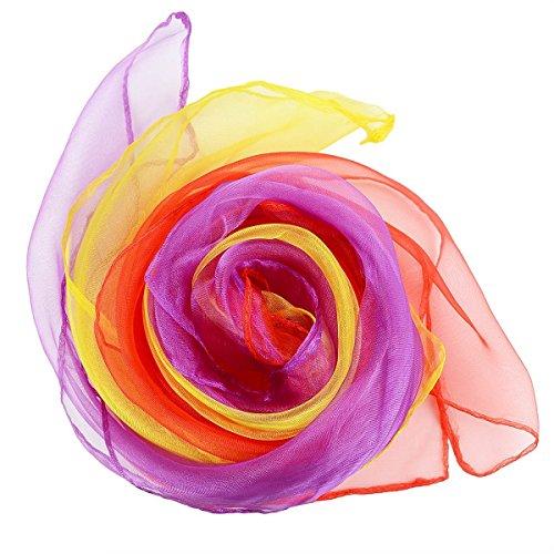 HENGSONG 12 pcs Danse du Ventre Echarpes Jouets de Jonglage Jouet Sensoriel Pour Bébé / Tout-petit 6 Couleurs (60cm x 60cm)
