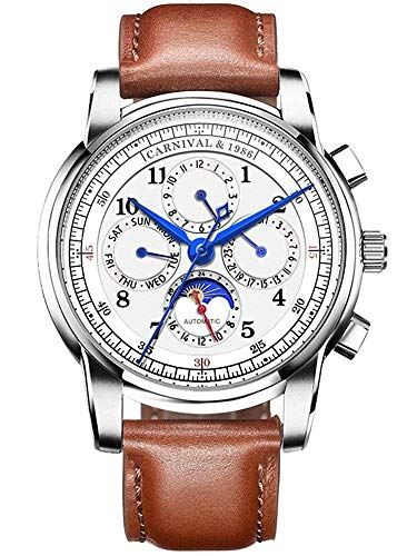 Men's Automatic Mechanical Watch Date Moon Phase 24-Hour Indication Calfskin Leather Transparent Watches (Brown Leather-White)