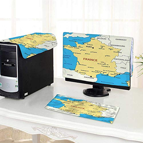 Jiahonghome Keyboard dust Cover Computer 3 Pieces Map of France French Territory Channel Mediterranean Cream Blue White Computer dust Cover /32