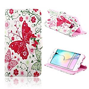 SHOUJIKE Butterfly Flowers Pattern PU Leather Full Body Case with Card Slots And Stand Case for Samsung Galaxy S6 edge