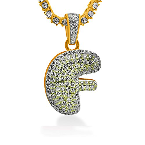 925 Sterling Silver Yellow Gold-Tone Iced Out Hip Hop Swag Bling Bubble Letter F Pendant with 18'' 1 Row Chain by iRockBling