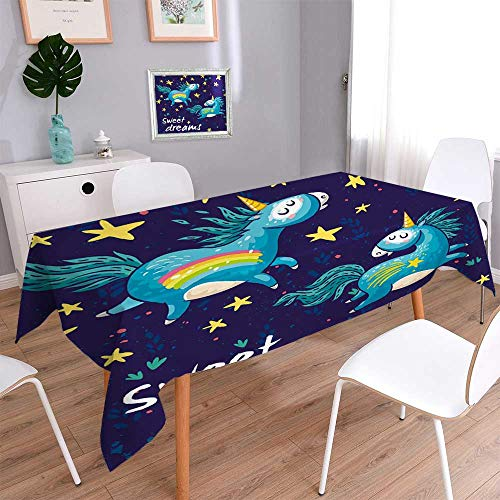 PINAFORE HOME Linen Square Tablecloth Ceielle avec licornes arc en ciel affiche ou copie Linen Cotton Tablecloths for Kitchen Room/W54 x L120 Inch
