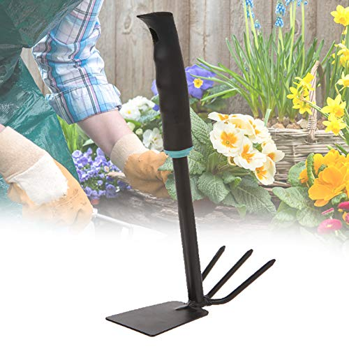 ZaRoing 2-in-1Hoe and Cultivator Hand Tiller Rubber Grip Deal with&Anti-Rust, Heavy Obligation Garden Backyard Instruments for Loosening Soil, Digging, Weeding, Planting, Gardening Shovel Plant for Gardening