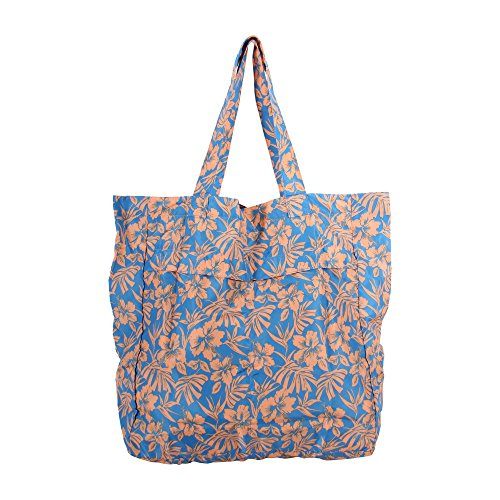 Margaritaville Womens Girls Convertible Foldable Pouch Tote Bag Tropical Hibiscus Blue (Blue Hibiscus Beach Towel)