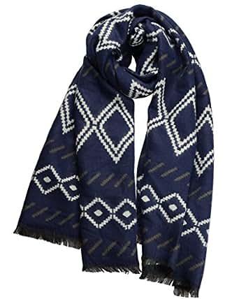Women Warm Plaid Winter Scarf Gorgeous Blanket Wraps Cape Shawl Navy Blue