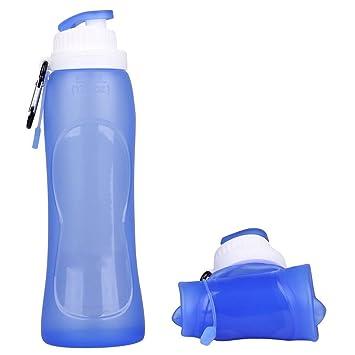 Rightwell Botella de agua plegable/Botella deportiva de silicona La prueba de fugas de seguridad