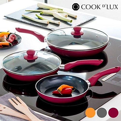 Appetitissime Cook DLux Sartenes Antiadherentes, Aluminio, Granate, 28 cm, 3 Unidades: Amazon.es: Hogar