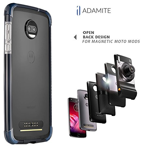 Moto Z2 Force Case Bumper Black / Clear Compatible With Moto Mods ( Ademite )