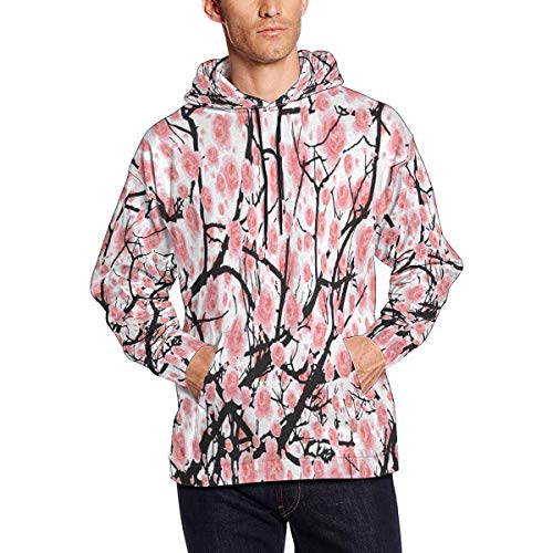 (INTERESTPRINT Men's Full Bloom Sakura Cherry Blossom Casual Long Sleeve Slim Pocket Fit Hoodies Jacket Coat)