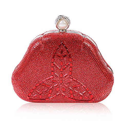 Bag Style Evening Damara Rhinestones Crystal Red Clover Womens Fully wBWWvgq0T