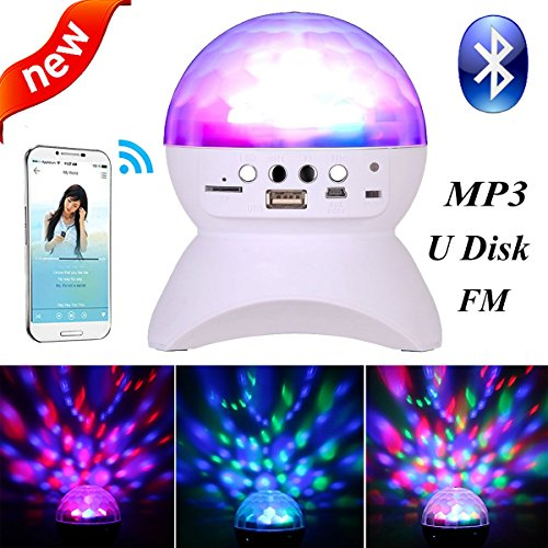 SJP LightMP3 Bluetooth LED Colourful Stage Lights RGB Crystal Rotating Magic Ball Light FM Radio,MP3/support TF card/Micro SD card and USB input LED Night Light for Party (White)