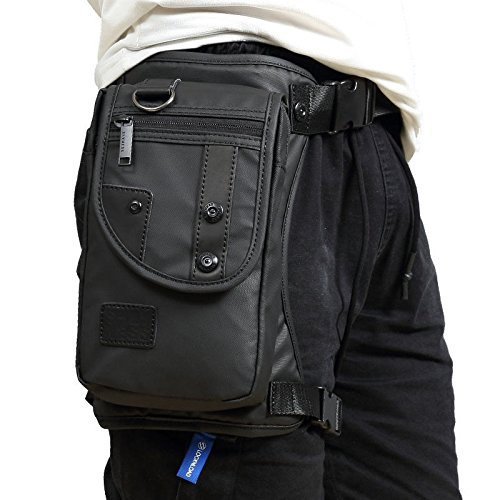 xieben Men Waterproof Oxford Tactical Military Riding Waist Bag Drop Waist Leg Bag New (Black) by Xieben