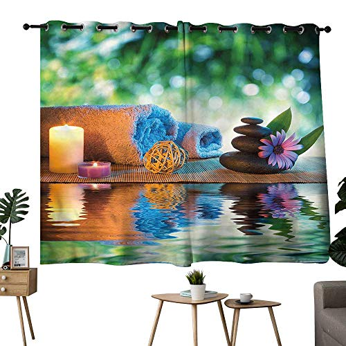 (Diycon Customized Curtains Spa Japanese Candles Meditation Breathability W55 xL72 Suitable for Bedroom Living Room Study,etc)