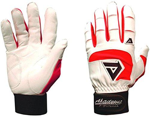 Akadema White/Red Professional Batting Gloves XL by Akadema