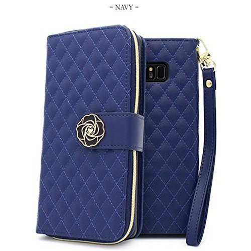 Quilting Zipper Diary Case,Flip Case, Wallet Case [ID Card/Cash Slot] for Android and I Phone. (Navy, LG V30) (Purse Quilting Pattern)
