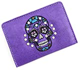 Travel Passport Holder Sugar Skull Cover Slim Id Card Case for Men & Women Travel Wallet Securely Holds Business Cards Credit Cards (Purple)