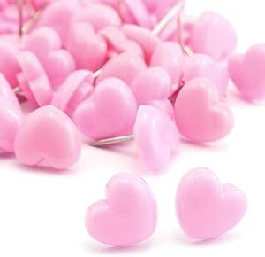 Lind Kitchen 100pcs Heart Shape Push Pins for Home School Office Notice Board Cork Board,Cute Thumbtacks Tacks Decorative Pushpins Accessories Supplies Pink